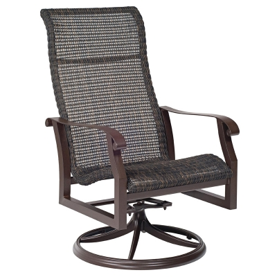 Woodard Round Weave High Back Swivel Rocker