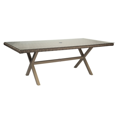 Woodard Rectangular Umbrella Table with Glass top
