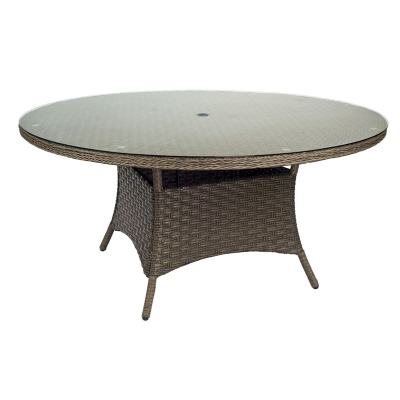Woodard Round Umbrella Table with Glass Top
