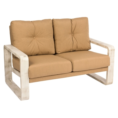 Woodard Love Seat with Upholstered Back