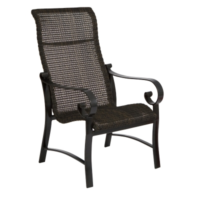 Woodard Round Weave High Back Dining Arm Chair