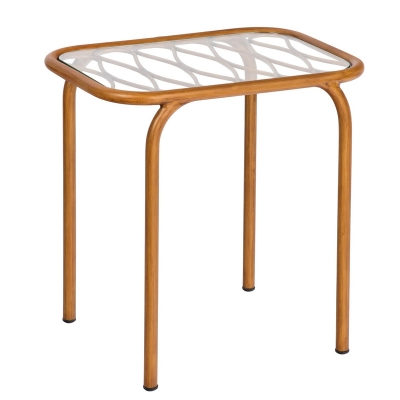 Woodard End Table with Glass Top