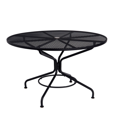 Woodard Textured Black Contract 48 inch Round Mesh Top Umbrella Table