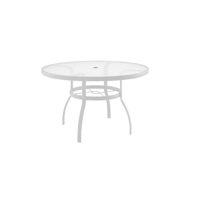 Woodard White 42 inch Round Umbrella Table Acrylic Top