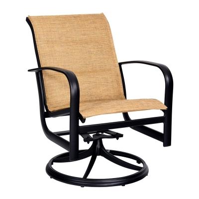 Woodard Padded Sling Swivel Rocker Dining Arm Chair