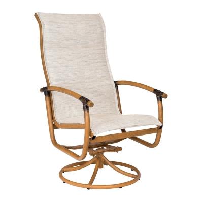 Woodard Padded Sling High Back Swivel Rocker Dining Arm Chair