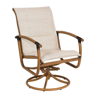 Woodard Padded Sling Swivel Rocker Dining Arm Chair
