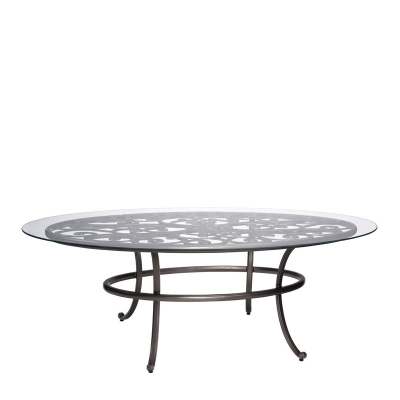 Woodard Oval Umbrella Table with Glass Top