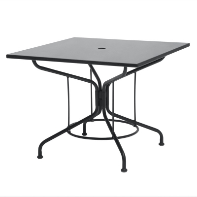 Woodard Textured Black 36 inch Square Solid Top Umbrella Table