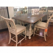 Weatherford Tall Gathering Table & Kendal Counter Height Side Chairs Kincaid