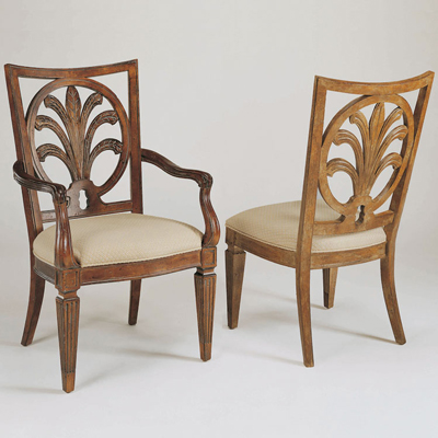 Century Mitsford Carved Arm Chair
