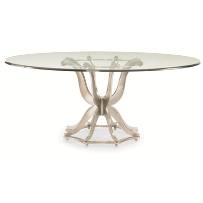 Century Metal Base Dining Table with Glass Top