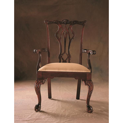 Century Pierced Back Ball and Claw Arm Chair