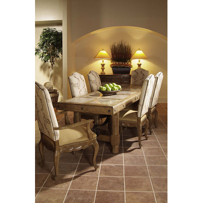 Century Dining Table with Cocoa Marble Inserts