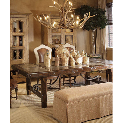 Century Dining Table with Oatmeal Marble Inserts