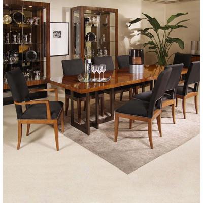 Century Satin Walnut Dining Table with Metal Base