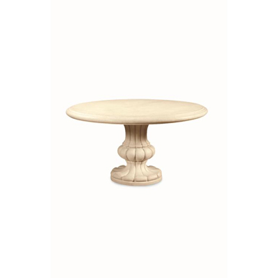 Century 60in Round Cast Resin Table Base with Travertine Top
