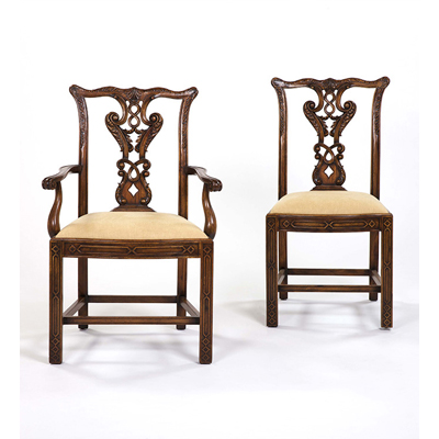 Century Brown Finish Chippendale Dining Arm Chair