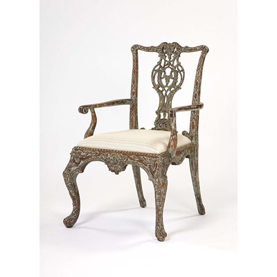 Century Distressed Paint Finish Dining Arm Chair