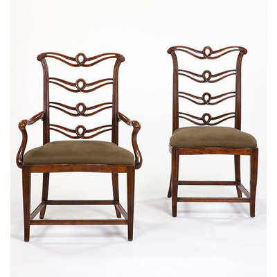 Century Brown Finish Dining Side Chair