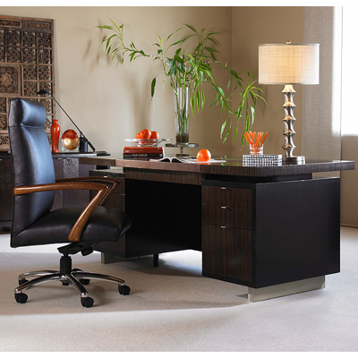Century Seven Drawer Desk with Brown Leather Top
