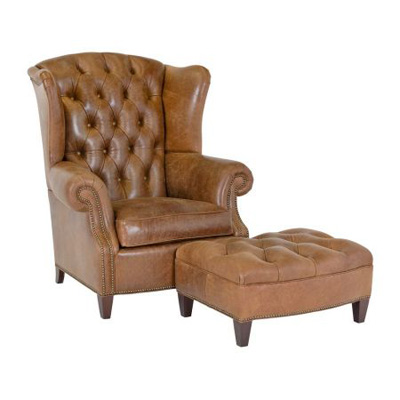 Classic Leather Stanford Wing Chair and Ottoman