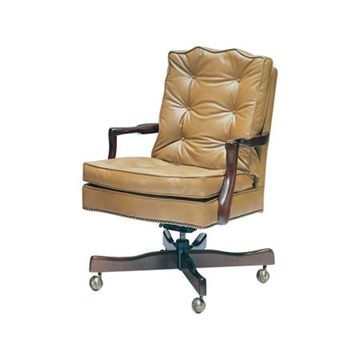 Classic Leather Semi Attached Chippendale Swivel Tilt Chair