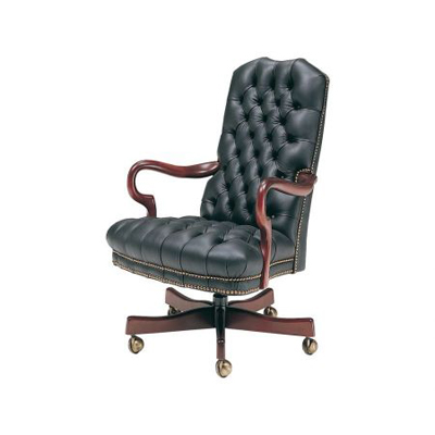 Classic Leather Tufted Goose Neck Swivel Tilt Chair