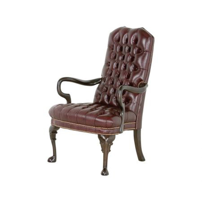 Classic Leather Tufted Goose Neck Chair