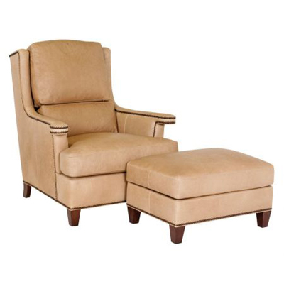 Classic Leather Carmel Chair and Ottoman