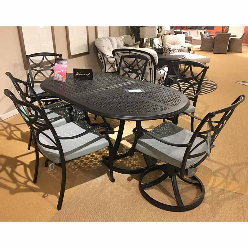 Hampton Oval Dining Table and Chairs Woodard