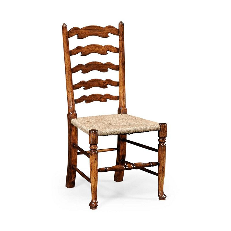 Country Farmhouse Walnut Country Ladder Back Chair Side Jonathan Charles