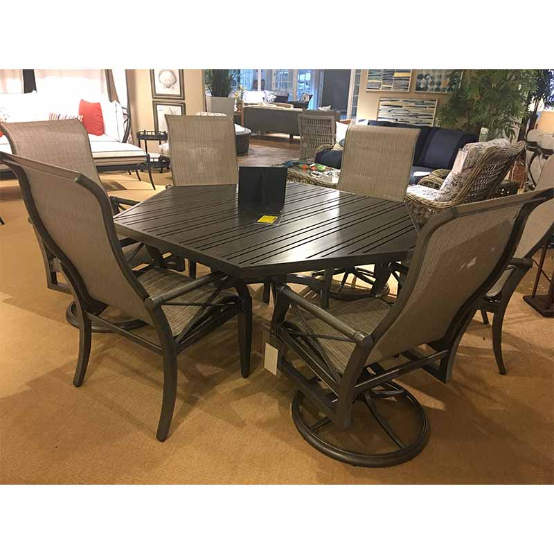 Carson Cushion Dining Table Woodard