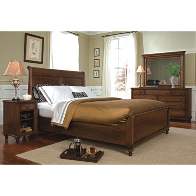 Durham 980 127b Saville Row Queen Low Sleigh Bed Discount Furniture At Hickory Park Furniture