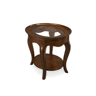 Hammary Oval End Table With Glass Top