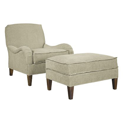 Hickory Chair Emory Ottoman with Exposed Legs