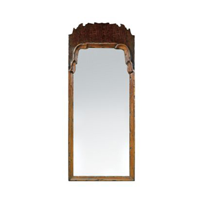 Hickory Chair Queen Anne Mirror with Crest Optional Finishes