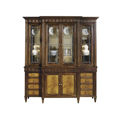 Hickory Chair Drake Cabinet Deck with Leaded Glass Doors