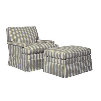 Hickory Chair MacDonald Skirted Lounge Chair and Ottoman