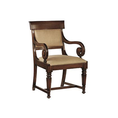 Hickory Chair Neoclassic Upholstered Back Arm Chair
