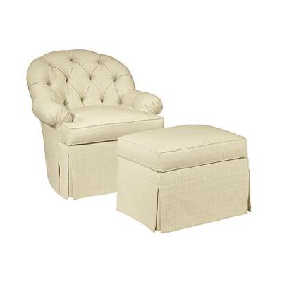Hickory Chair Ashley Skirted Chair and Ashley Skirted Ottoman
