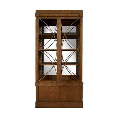 Hickory Chair Artisan 2-Dr Mah Grand Cabinet Deck with Glass Doors