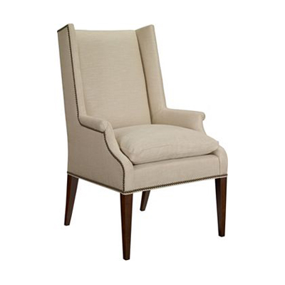 Hickory Chair Martin Host Chair with Loose Cushion and Arms-Ash