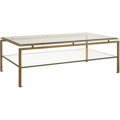 Hickory Chair Montpelier Cocktail Table with Clear Glass Top and Shelf