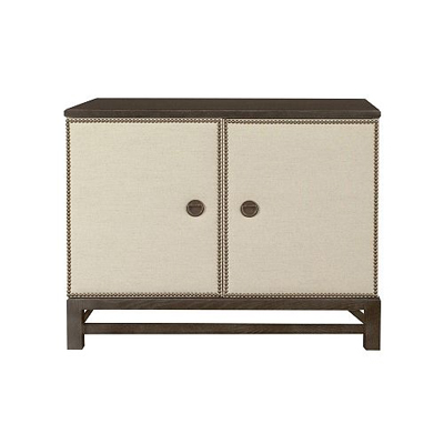 Hickory Chair Remy Two Door Upholstered Cabinet in Group One Fabrics with Remy Base