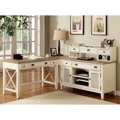 Riverside Writing Desk Corner Credenza and Hutch