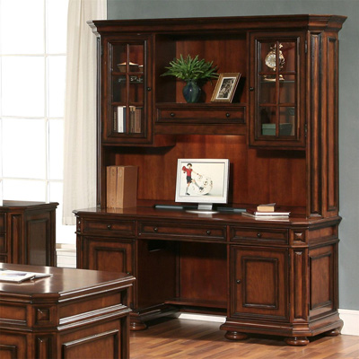 Riverside Computer Credenza and Hutch