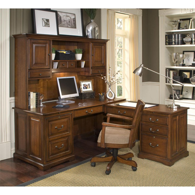Riverside L Computer Workstation and Hutch