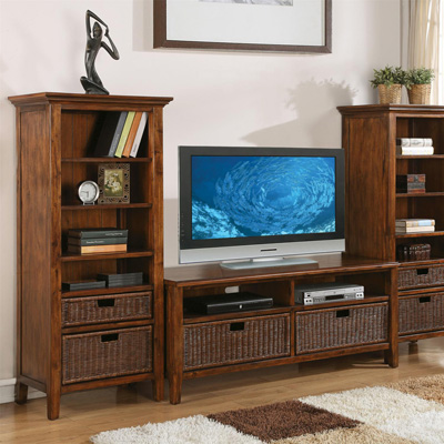 Riverside 60 Inch TV Console and Etagere Pier