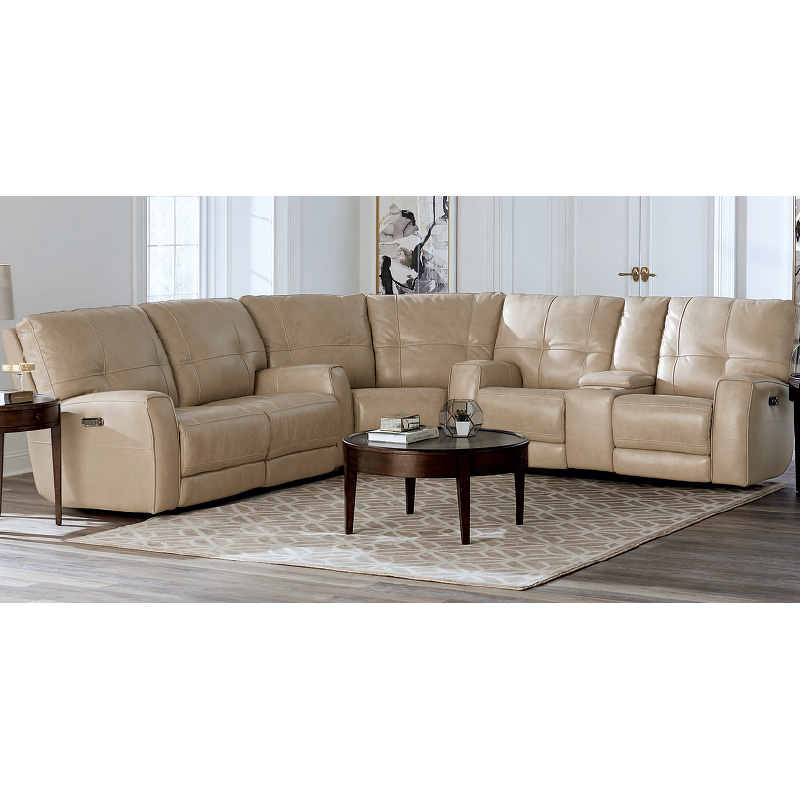 Bassett 37-15 Club Level Conway Leather Sectional Discount